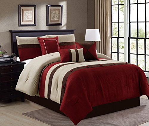 Elegant 7 Piece Micro Suede Stripe Queen Bedding Burgundy
