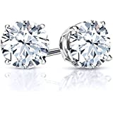 3.20 Ct Round 7mm White Topaz Gemstone 925 Sterling Silver Stud Earrings