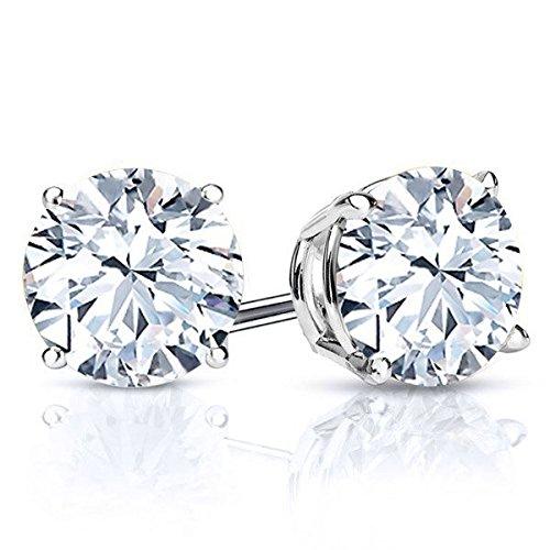 White Topaz Gemstone Earrings (3.20 Ct Round 7mm White Topaz Gemstone 925 Sterling Silver Stud Earrings)