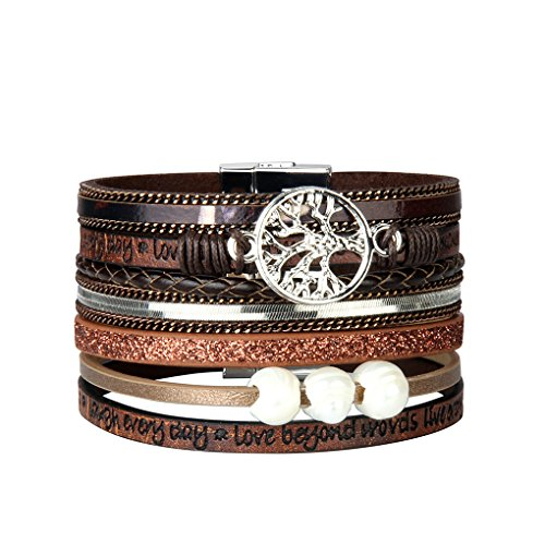 Bfiyi Leather Cuff Bracelet Women Letter Engraved Tree Life Bracelet Bangle Handmade Pearl Jewelry from Bfiyi