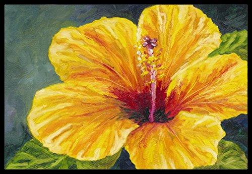 Caroline's Treasures TMTR0321JMAT Yellow Hibiscus by Malenda Trick Indoor or Outdoor Mat, 24' x 36', Multicolor