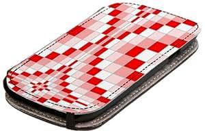 Diabloskinz L0079-0047-0002 Ripple - Funda para Samsung Galaxy S3, piel, diseño de cuadros, color blanco y rojo