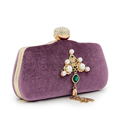 Purple Clutch Evening Rabbit Bag Khaki Tassels Sapphire Color Pearl Clutch Wedding Decorate Evening Bag Lovely And Handbag Bridal Women AUFwS