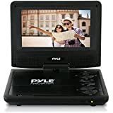 Upgraded 2018 Portable DVD Player - Car CD DVD Player, Rechargeable Battery, USB/SD, Headphone Jack, Includes Remote Control, Car Charger, Travel Bag Blue Pyle (PDV71BK)