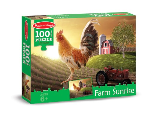 Sunrise Rooster - Melissa & Doug Farm Sunrise Rooster at Dawn Jigsaw Puzzle (100 pcs)