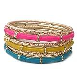 Neon Pink Yellow Aqua Blue Bamboo Look Enamel Gold Tone Beveled Cut 6 Stacking Bangle Bracelet Set