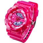 New Unisex Fashion Sport Watch Analog Digital Water Resist Dual Time Multifunction Alarm Led Womens Mens Wristwatch 6 Colours Option Rose Red