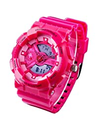 New Unisex Fashion Sport Watch Analog/Digital Water Resist Dual Time Multifunction Alarm Led Womens Mens Wristwatch 6 Colours Option (Rose Red)