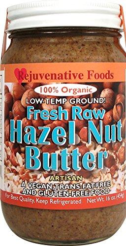 Rejuvenative Foods Certified Organic Pure and Fresh Raw Low-Temp Ground Hazelnut Butter - 16 oz