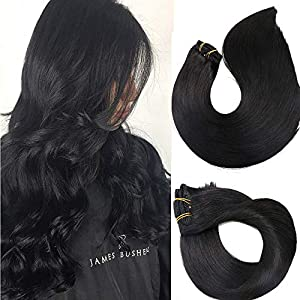 Clip In Hair Extensions Human Hair New Version Thickened Double Weft Brazilian Hair 120g 7pcs Per Set 9A Remy Hair Jet…