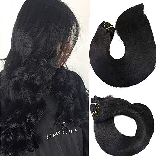 Clip In Hair Extensions Human Hair New Version Thickened Double Weft Brazilian Hair 120g 7pcs Per Set 9A Remy Hair Jet Black Full Head Silky Straight 100% Human Hair Clip In Extensions(22 Inch #1)