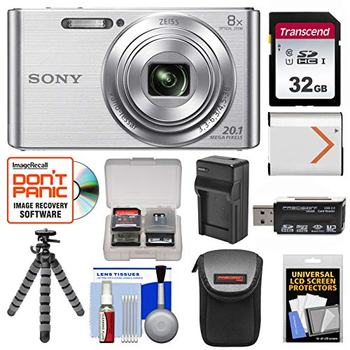 Sony Cyber-Shot DSC-W830 Digital Camera (Silver) with 32GB Card + Case + Battery & Charger + Flex Tripod + Accessory Kit ()