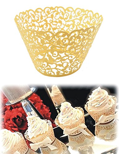 50pcs Vine Filigree Lace Cake Cupcake Cases Wrappers Wraps Baking Cups Muffin Holder Liner Decoration Wedding Birthday Party Baby Shower (Blue Safari Baby Shower Cupcakes)