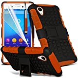 ONX3® ( Orange ) Sony Xperia M4 Aqua Case Custom Made Tough Survivor Hard Rugged Shock Proof Heavy Duty Case W/ Back Stand, LCD Screen Protector Guard, Polishing Cloth & Mini Retractable Stylus Pen