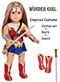 ebuddy 9pc/Set Wonder Girl Inspired Costume Leather Doll Clothes Shoes Sword Fits 18 inch Dolls Like Our Generation My Life Adora Gotz   Great Gift Little Big Girls