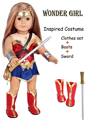 ebuddy 9pc/Set Wonder Girl Inspired Costume Leather Doll Clothes Shoes Sword Fits 18 inch Dolls Like Our Generation My Life Adora Gotz | Great Gift Little Big Girls