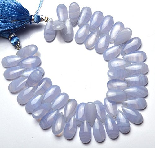 1 Strand Natural Namibia Blue Lace Agate 7x15MM Approx. Smooth Pear Shape Briolette Beads 7.5 Inch