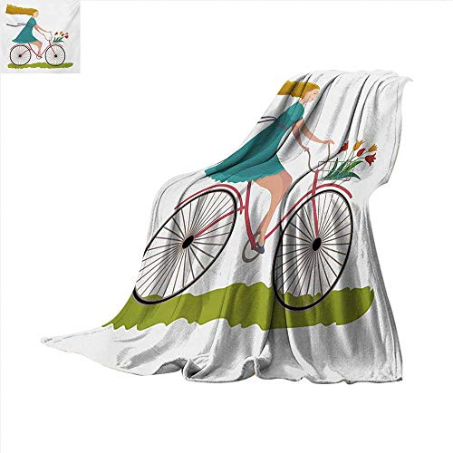 Bicycle Throw Blanket Young Woman on Bike with Basket of Tulip Flowers Riding in The Spring Countryside Velvet Plush Throw Blanket 60 x 60 inch Multicolor