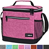 OPUX Premium Insulated Lunch Bag with Shoulder Strap   Lunch Box for Adults, Kids   Soft Leak Proof Liner   Tall Lunch Cooler for Office, School   Fits 18 Cans (Heather Pink)