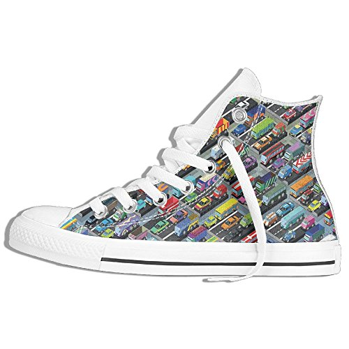 Ongyeyuan Detailed Collection Of Various Vehicles Parked Cars Buses Trucks Vans In Many Colors High Top Classic Casual Canvas Fashion Shoes 42 Zoomer Car