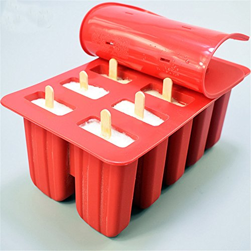 10-Cavity Frozen Ice Cream Pop Mold Silicone Popsicle Maker Lolly Mould with Cover Lid +12 Sticks