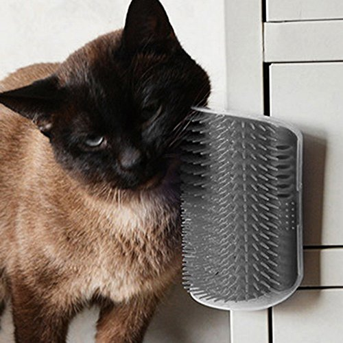 URIJK Cat Self Corner Groomer with Catnip, Cat Wall Corner Massage Comb Grooming Brush for Cats with Long & Short Fur - Helps Prevent Hairballs and Controls Shedding
