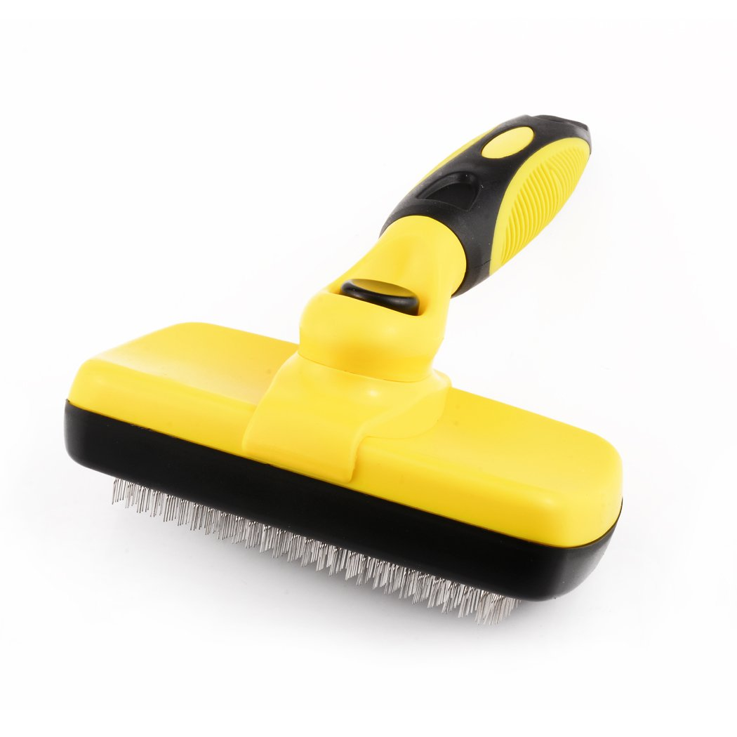 Pet Grooming Brush for Dogs & Cats, Wanfei Self Cleaning Slicker Brush Shedding Tool Easy to Clean Removes Mat Tangles Knots and Short or Long Loose Hair Fur-Yellow