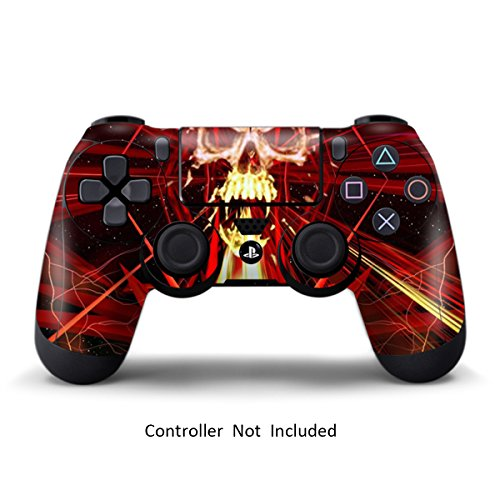 PS4 Controller Skin Stickers - Custom Sony Playstation 4 Remote Vinyl High Gloss Sticker - Play Station 4 Joystick Decal - Skull Dark Red by GameXcel ® [ Controller Not Included ]