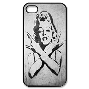 Marilyn Monroe Graffiti Rocks Gesture iPhone 4/4s Case Protective For Girls, Iphone 4s Case Luxury [Black]