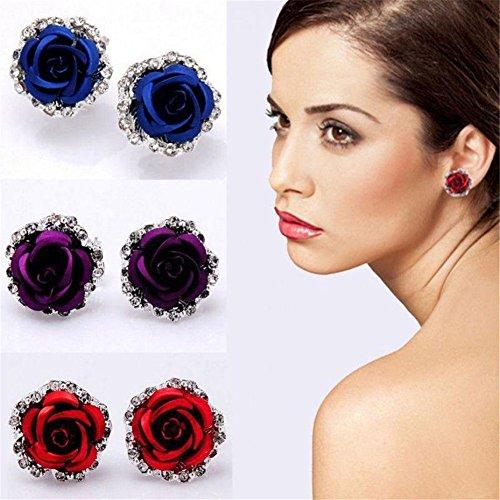 KeyZone 1 Pair Stylish Lady Rose Flower Zinc Alloy Pierced Ear Stud Earrings
