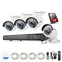 ANNKE 8CH 6.0MP IP Camera Security System with 4 Megapixels Super HD 2560x1440 4 Bullet IP Cameras,Power over Ethernet, 2TB HDD