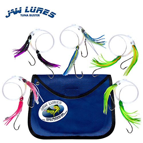 Offshore Fishing Lures | Tuna Lures Buster Combo | 5 Pack of Ocean Lures Targeting Blackfin Tuna, Albacore Tuna, Mahi Mahi and More | Uniquely Designed To Hook 2 Fish (Blackfin Tuna)