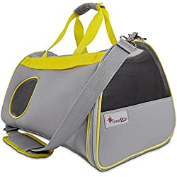 Good2Go Ultimate Pet Carrier in Gray & Yellow, For pets up to 22 lbs., Large, Gray / Yellow