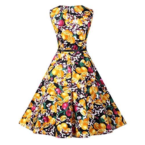 IMUYI Frauen der 1950er Jahre Vintage Blumenboot Neck Sleeveless Party Cocktail Swing Kleid mit Gürtel 12Floral nAKWyEsXIi