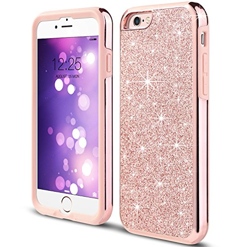 UARMOR Bling Case for Apple iPhone 6s 6, Glitter Luxury 2 in 1 Hybrid Sparkle Shiny Faux Leather Chrome Shockproof Protective Case Cover for Girl's iPhone 6 / iPhone 6S (4.7 inch), Rose Gold
