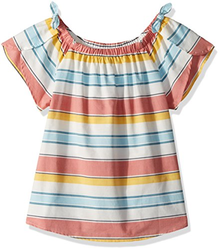 Lucky Brand Little Girls' Short Sleeve Fashion Top, Ilyssa Marshmallow, (Little Girls Blouse)