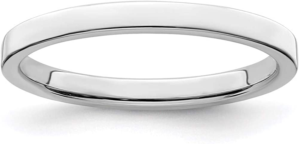 925 Sterling Silver 2mm Flat Size 6 Wedding Ring Band Classic Fine Jewelry For Women Gifts For Her
