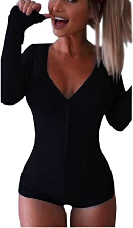 2b87086d9b Moxeay Women V-Neck Long Sleeve Shorts Knitted Bodysuit Jumpsuit Romper  Overall(Black