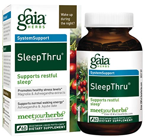 Gaia Herbs SleepThru, Vegan Liquid Capsules, 60 Count - Non-Habit Forming Herbal Sleep Aid Promotes Restorative Sleep, Organic Ashwagandha for Adrenal Support, No Melatonin
