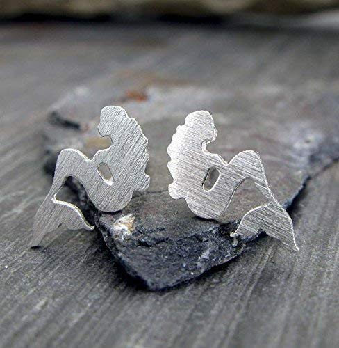 - Mermaid stud earrings brushed sterling silver handmade in the USA. Sea maiden tiny posts
