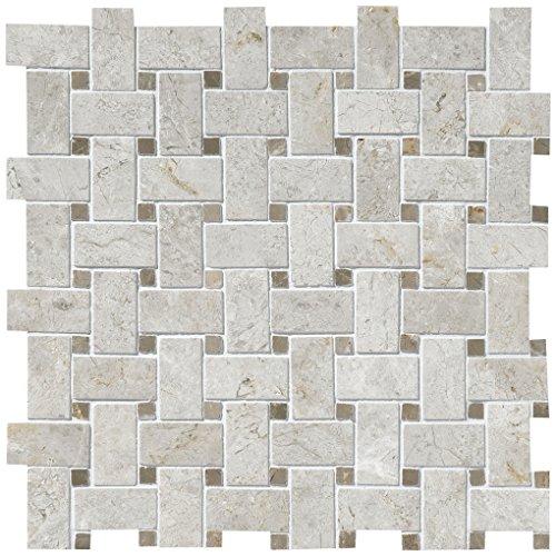 - Dal-Tile L757BSKTWVMS1L Limestone Tile 24-3/8 x 24, Arctic Gray Basketweave Polished Mosaic