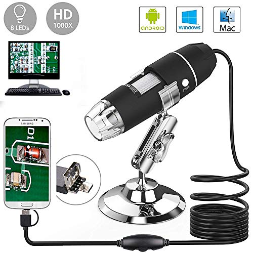 YOCOM 2.0Megapixel HD USB Digital Microscope Camera 50X to1000X Magnification Handheld Mini Endoscope with 8 LED Light Adjustable Metal Stand Educational or Hobby Microscopes Toy for Kids Student by YOCOM