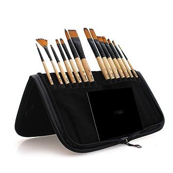 SQWK 14 piezas de pelo de nylon Cepillo de pintura de acuarela de madera con estuche para pinceles Pinceles escolares Artículos de arte como se muestra en negro: Amazon.es: Bricolaje y herramientas