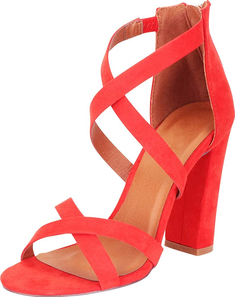 orange Imsu Cambridge Select Women's Crisscross Strappy Chunky Block High Heel Sandal