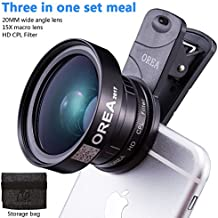 3IN 1 Optical Phone Lens Kit for Iphone7,20mm Wide Angle Lens Plus15x Macro Lens Attachment +37mm CPL Lens Filter for Pixel Samsung IOS Android Tablet