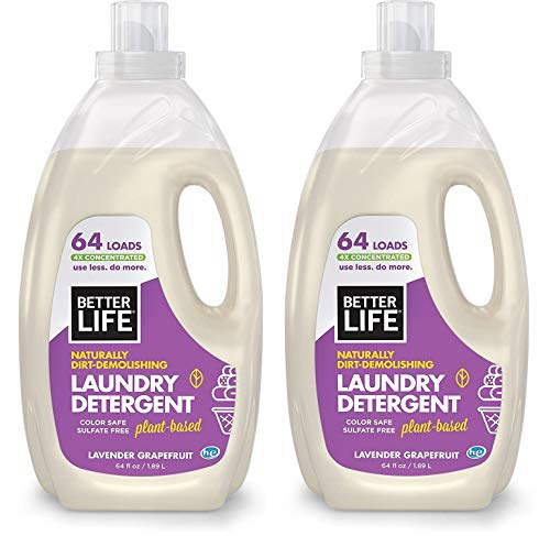 Better Life Natural, Plant Based 4X Concentrated Laundry Detergent, Lavender Grapefruit, 64 Loads, Sulfate Free & Color Safe, 2423F (2-CONTAINERS)