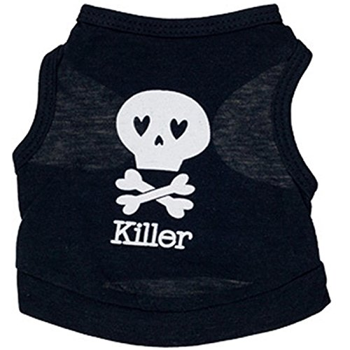 Ollypet Black Skull Pattern Killer Sleeveless Pet Dog Tank Top Tee Shirt Clothes Clothing Cotton XS