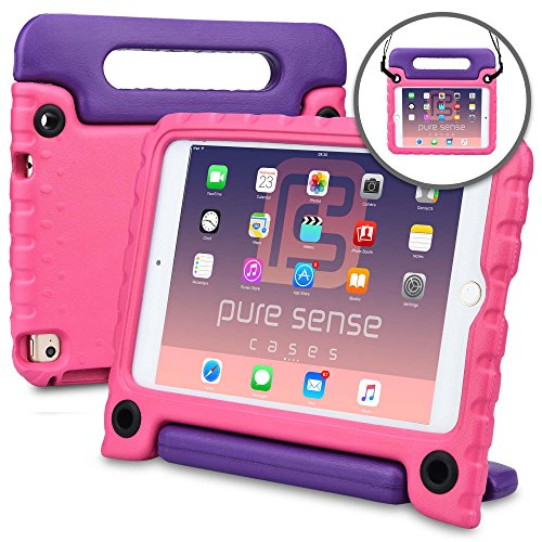 Apple iPad Mini 4 case, [NEW] PURE SENSE BUDDY Rugged Kids Shoulder Strap Anti Microbial Germ Bacteria Heavy Duty Children Drop Proof Toy Protective Carry Cover Handle Stand Screen Protector (Pink) - Child Protective Ipad Case