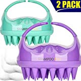 Beauty : Shampoo Brush, 2 Pack Hair Scalp Massager Shampoo Brush [ 2020 Upgraded Version ] with Easy Handle for Women, Men, Kids, Wife, Girlfriend, Daughter, Pet Dogs (Natural Green, Noble Purple)
