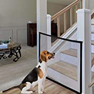 LOYY Dog Gates for Kids or Pets Zipper Gate for Dogs Baby Gates Retractable Safety Mesh Dog Gate for Doorways